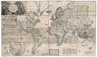 Old Vintage Decorative Map of Ireland Moll 1732