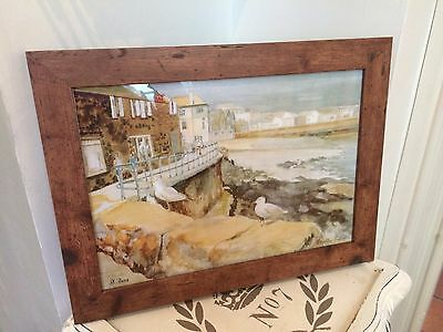 Vintage A4 picture PRINT of watercolour painting ST.IVES Cornwall RUSTIC FRAME