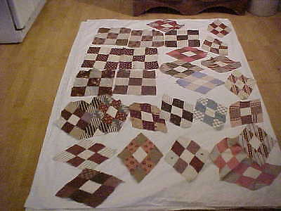 25 Early Antique Fabrics Cotton Quilt blocks 19th Century 2 SIGNED