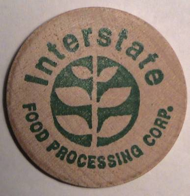 Interstate Food Processing Corp. ~ Classic Buffalo Front Wooden Nickel Token Vtg
