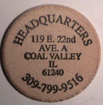 Headquarters (Bar & Grill): Coal Valley, Il: Classic Buffalo Front Wooden Nickel