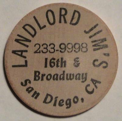 Landlord Jim's: San Diego, California: Classic Indian Head Front Wooden Nickel