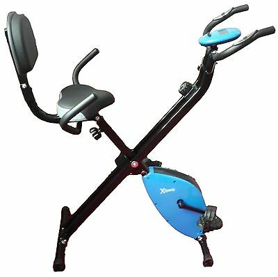 Folding Magnetic Upright Exercise Bike LCD Fitness Equipment Workout Gym Purple