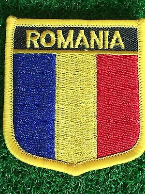 ROMANIA Shield Country flag patch... Embroidered IRON / SEW ON 6cm X 7cm
