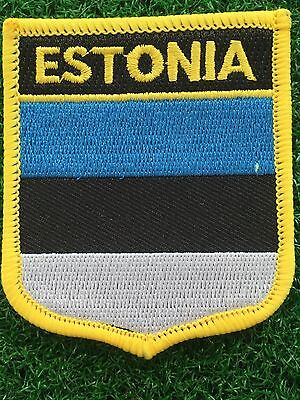 ESTONIA  Shield Country flag patch... Embroidered IRON / SEW ON 6cm X 7cm