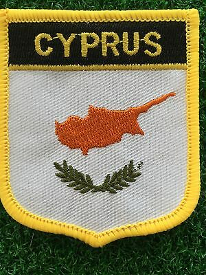 CYPRUS Shield Country flag patch... Embroidered IRON / SEW ON 6cm X 7cm
