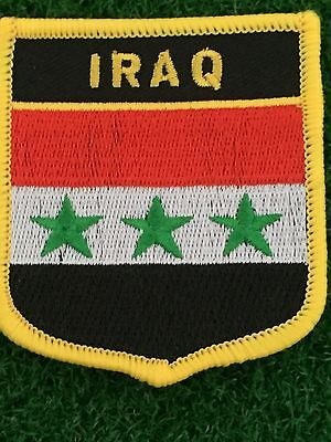 IRAQ Shield Country flag patch... Embroidered IRON / SEW ON 6cm X 7cm