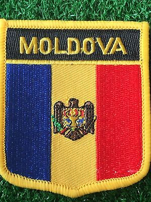 MOLDOVA Shield Country flag patch... Embroidered IRON / SEW ON 6cm X 7cm