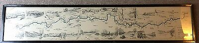 Framed Fisherman's Map of Salmon Pools on River Dee 1931