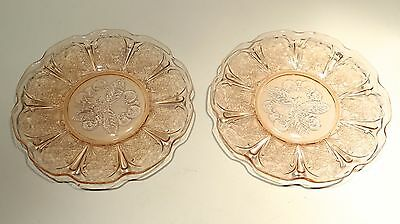 LOT 2 Jeanette Glass Co Cherry Blossom Pink Depression Coffee Cup Saucers