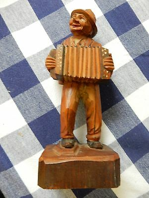 Vintage German Hand Carved and Painted Wood Figure of Accordian Player Musician