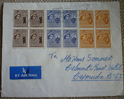 """CYPRUS 1955 QEII COVER TO BERMUDA with """"RENEW YOUR WIRELESS LICENSE"""" HANDSTAMP!"""
