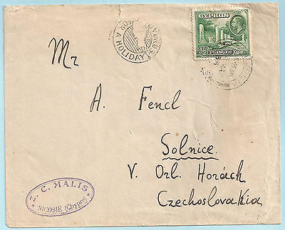 """""""CYPRUS FOR A HOLIDAY"""" PUBLICITY HANDSTAMP on 1935 KGV COVER TO CHECHOSLOVAKIA"""