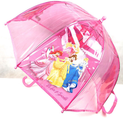 Official Disney Princess Girls Dome Transparent Rain Bubble Umbrella Brolly New