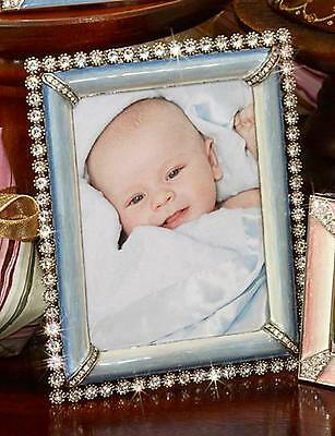"""Jay Strongwater NEW Collectible Emilia Stone Edge 3"""" x 4"""" Frame Pale Blue"""