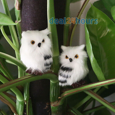 2pcs White Black Furry Owl Simulation Cute Christmas Ornament Home Adornment