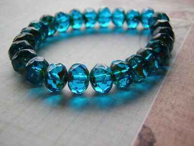 Capri Blue Beads Faceted 8 x 6 mm Glass Rondelle Picasso Edge 10 Beads