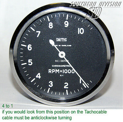 Smiths Chrometric Competition Tachometer 10000 4 to 1 RC1307/00 anticlock =RC109