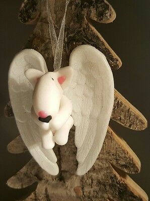 ODD BULLS personalised English Bull Terrier 'Angel' Hanging Christmas decoration