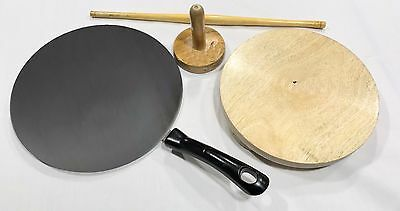 Indian Chapati Roti Making Set, Tawa, Fluffer, Rolling Pin and Board -FREE GIFT