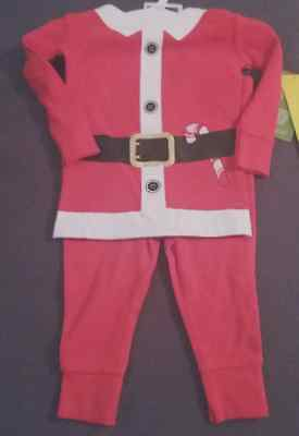 Christmas Santa fitted pajamas 2 piece set boy or girl size 12 month NWT