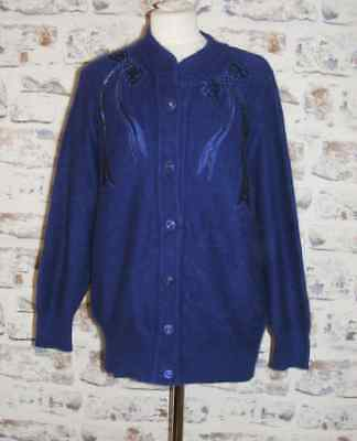 Size 14 vintage 80s bow beaded/appliqué cardigan crew neck dk blue angora (GY96)