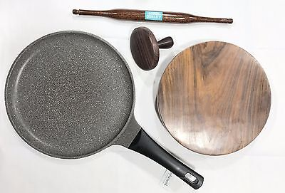 Deluxe RoseIndian Chapati Roti Making Set, Tawa, Fluffer, Rolling Pin and Board