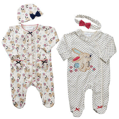 Newborn Toddler Infant Baby Girls 2 Piece Sleepsuit Set Clothes Outfit NEW UK
