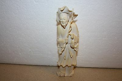 Antique Vintage Chinese Hand Carved Bone Detailed Fisherman Figurine Statue