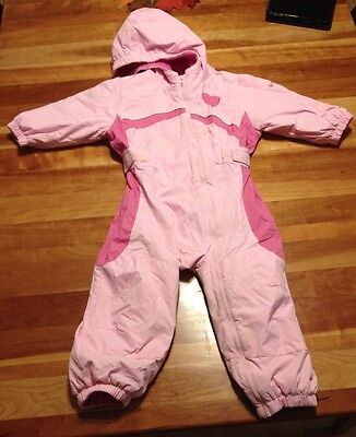 Girl's Columbia One Piece Snowsuit Pink White 24 Months 2T Hat