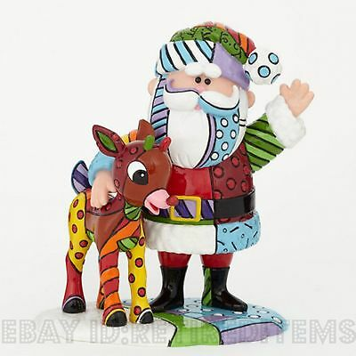 Santa Claus & Rudolph The Red Nosed Reindeer ROMERO BRITTO Christmas Figurine