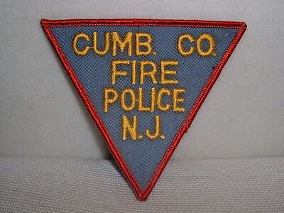 Vintage Triangular Cumberland County NJ Fire Police Embroidered Patch-New/Unused