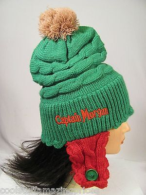 unisex CAPTAIN MORGAN RUM TOQUE *Festive Elf Style GREEN & RED* Ear Warmers COOL