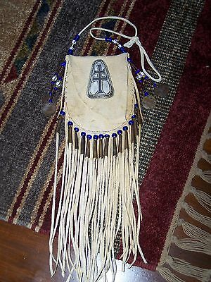 Ceremonial Beaded Native American Leather Medicine Pouch