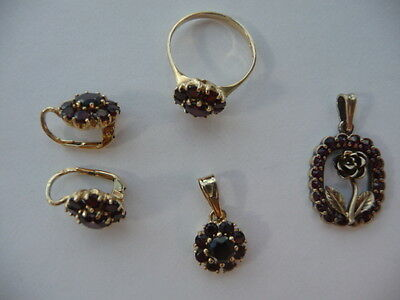 585 Gold/Garnet Set of Necklace, Earrings and Ring (M)+Gold Plat.Silv Necklace