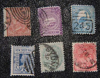 New South Wales, 1871-1905, used, SC 52, 77, 78, 102, 103, 110, GKStamps