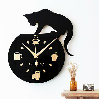 Silent Large Black Wall Clock Home Wall Decoration Kitchen Dining Room Watch