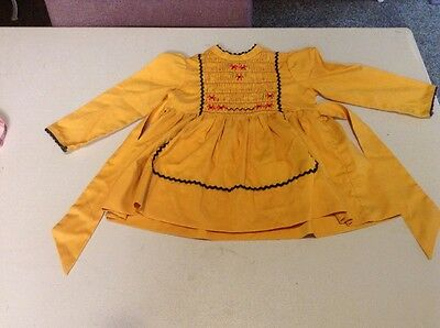 1970s, Vintage Kids Clothes, Girls Yellowish Dress.