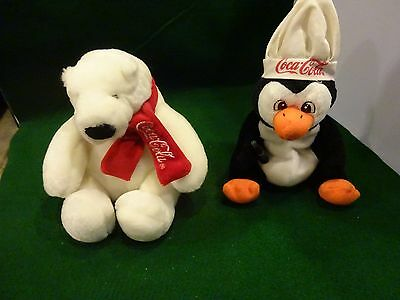 BOYDS Coca-Cola Polar Bear and 1997 Penguin holding Coke Plush Stuffed Animals