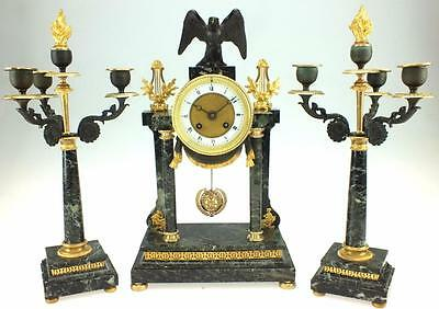 Unusual Antique 8 Day French Marble & Bronze Portico Mantel Candelabra Clock Set