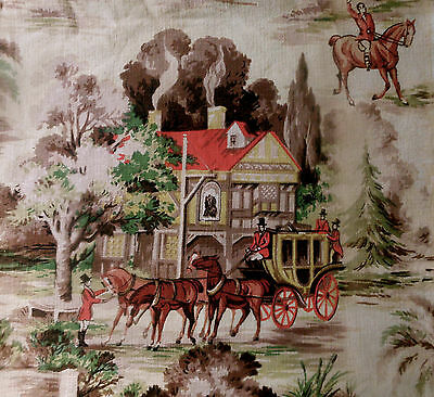 Vintage Winter Scene Equestrian Horse Carriage Barkcloth Fabric ~Coral Red Green