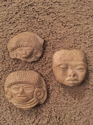 Aztec, Mayan, Central America, Mexican Carved Rock Stone Heads