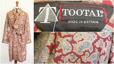 M - Vintage 80's Tootal Mens Red Paisley Night Gown Robe Smoking Jacket L529