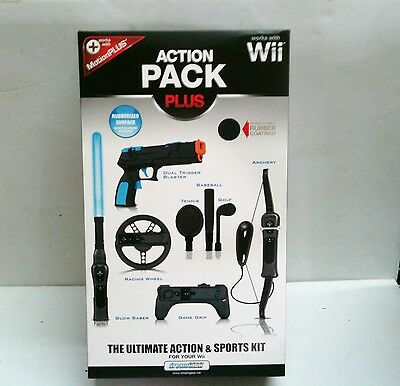 Wii Action Pack Plus 8 in 1 Accessory Kit - Bow, Steering Wheel, Gun