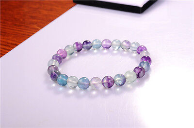 Genuine 8mm Natural Multi-color Fluorite Round Beads Stretchy Bracelet 7.5''
