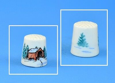 Hand Painted Ceramic Signed Thimble - Winter