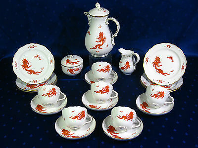Meissen Kaffeeservice 6 Pers. Roter Drache Mingdrache 21 Teile TOP Zustand