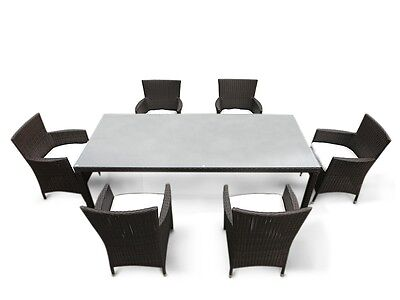 Outdoor Dining Furniture Set Table 6 Chairs Rattan Brown White Cushions
