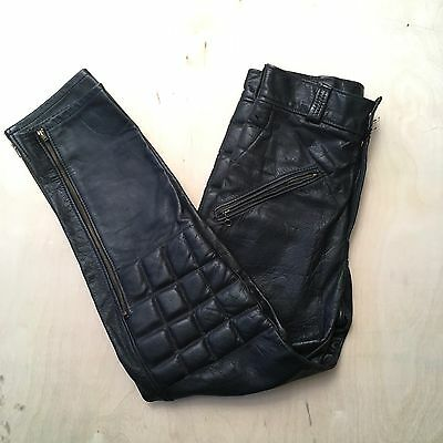 Vtg 60s Moto-Cross Padded Black Motorcycle Leather Pants 32 X 30