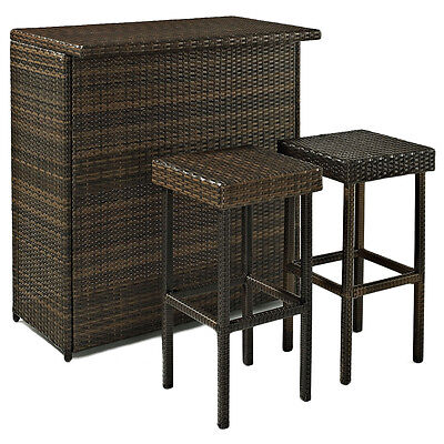Crosley KO70009BR 3-Piece Palm Harbor Outdoor Wicker Bar Set w/ Bar and Stools